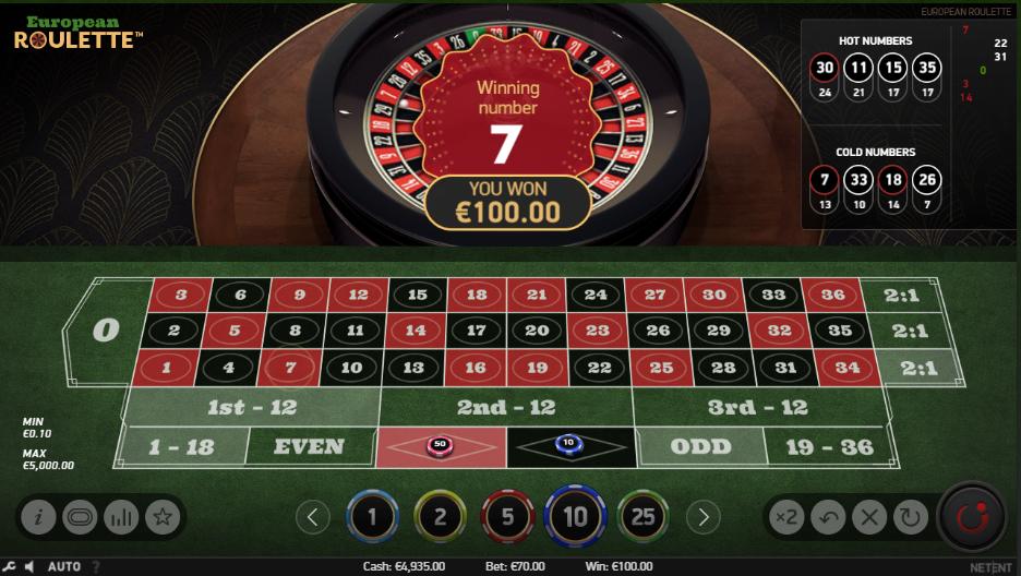ruleta netent european roulette